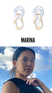 Marina  Asymmetrical Freedom See-Through Geometric Earrings