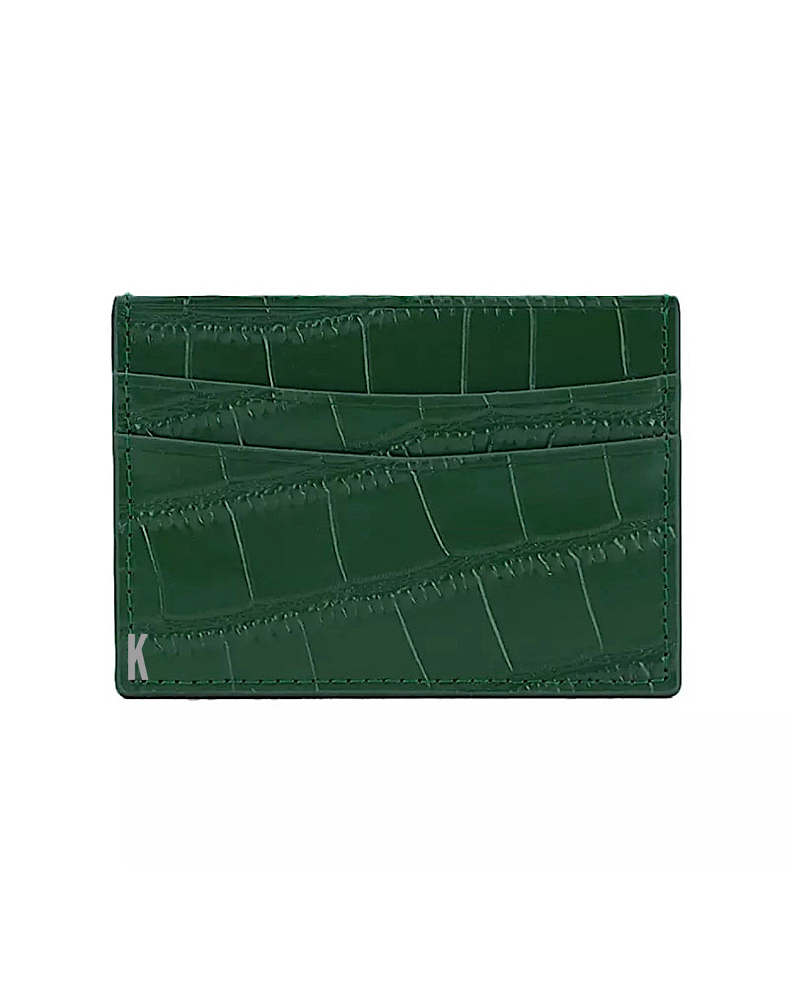 (Made-to-order) Deep Forrest Green Croc Embossed Vegan Leather Card Case