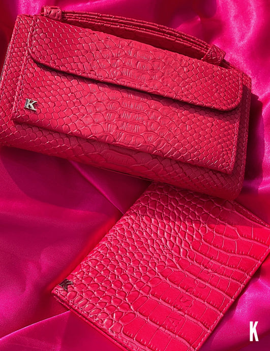 (Pre-order)Bright Pink  Embossed Vegan Leather Double-Purse Crossbody Bag
