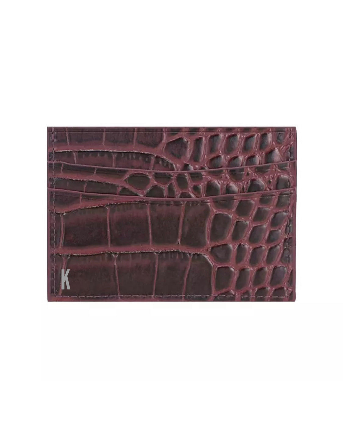 (Made-to-order) Deep Bordeaux Croc  Embossed Vegan Leather Card Case