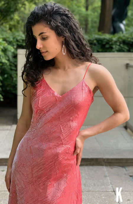 Carla Free Form Coral Pink Satin/Silk Dress