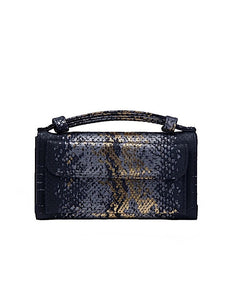 (Pre-order)Sequin Black Gold leaf Embossed Vegan Leather Double-Purse Crossbody Bag
