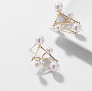 Ore Pearl Gold Statement Earrings