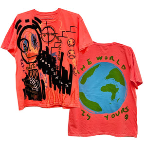 "By Kiy x 5am Rosa ""The World Is Yours"" Premium T Shirt ""Infrared"""