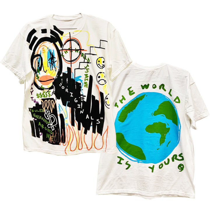 "By Kiy x 5am Rosa ""The World Is Yours"" Premium T Shirt ""White"""