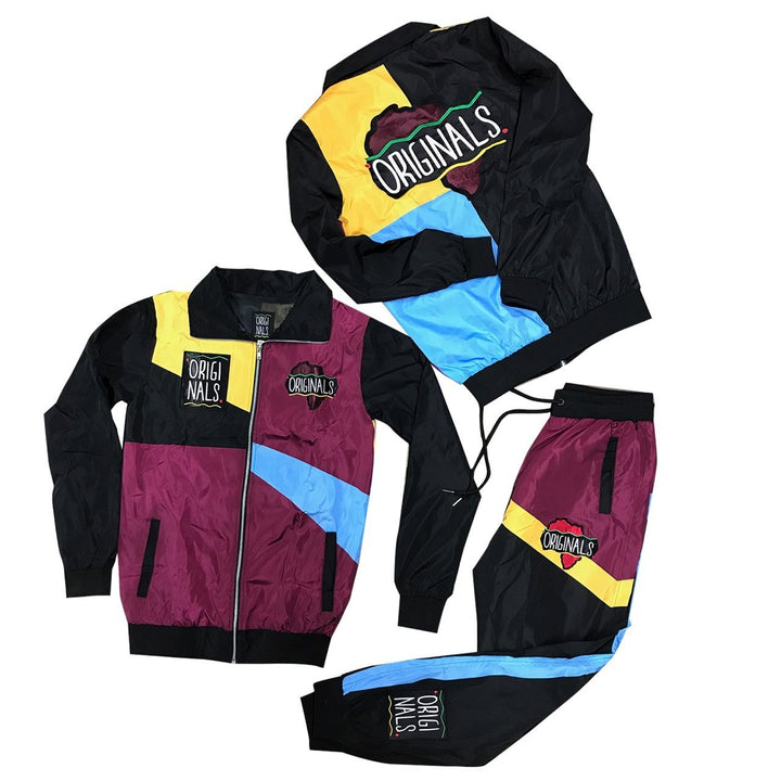 "Originals ""Motherland"" Windbreaker Suit ""Burg/Black/Sky/Yellow"""