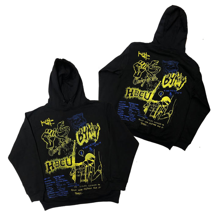 "Originals Support Black Colleges x KELLZ Tour Hoodie ""Black/Royal/Yellow"""