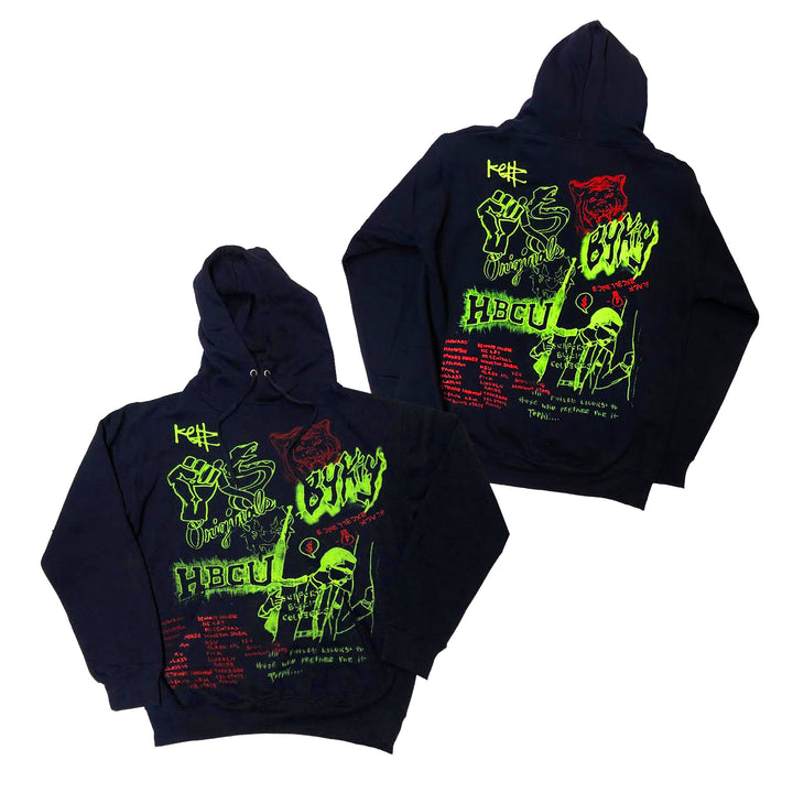 "Originals Support Black Colleges x KELLZ Tour Hoodie ""Navy/Lime/Red"""