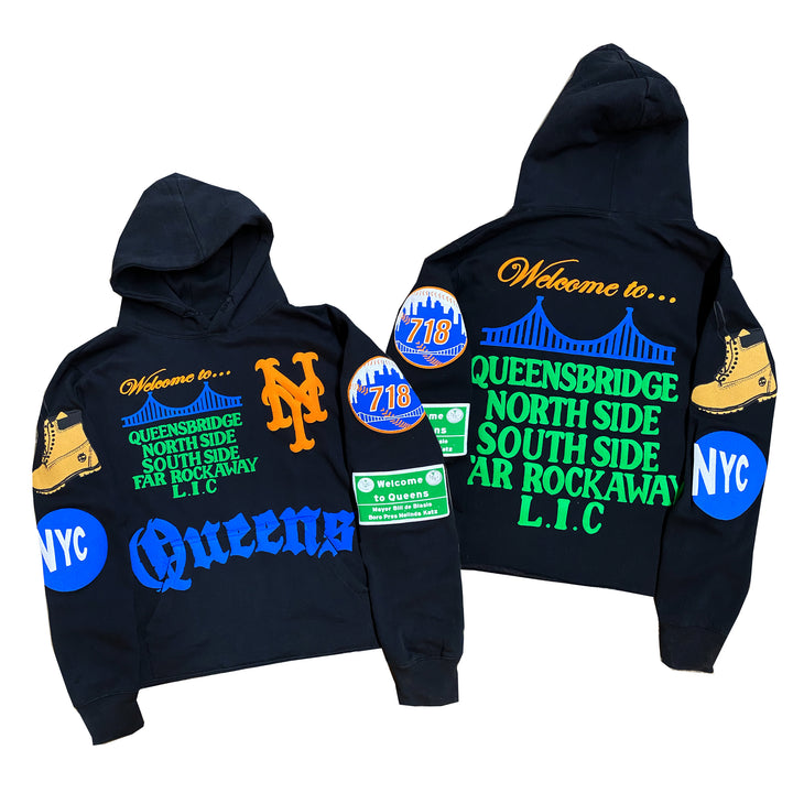 """Queens"" By Kiy x 718 x David Weeks NYC Hoodie ""Black"""