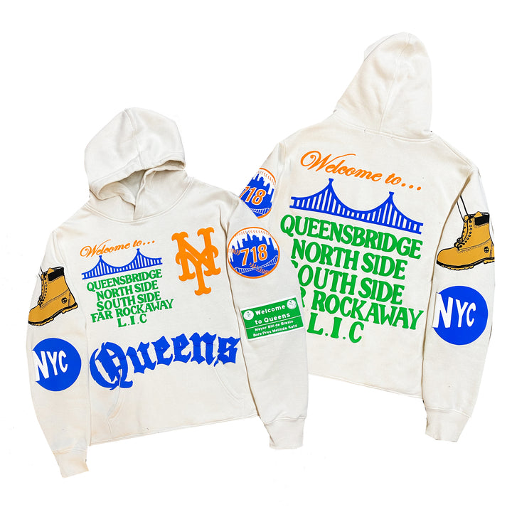 """Queens"" By Kiy x 718 x David Weeks NYC Hoodie ""Off White"""