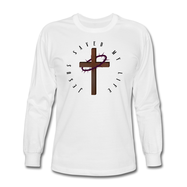 Jesus Saved My Life Long Sleeve T-Shirt - white