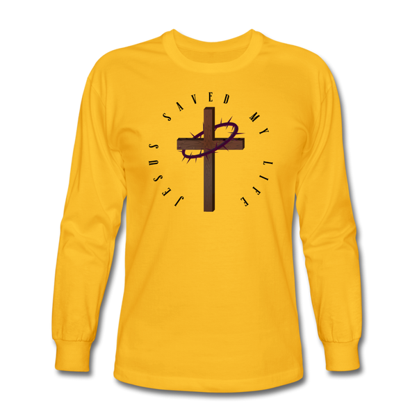 Jesus Saved My Life Long Sleeve T-Shirt - gold