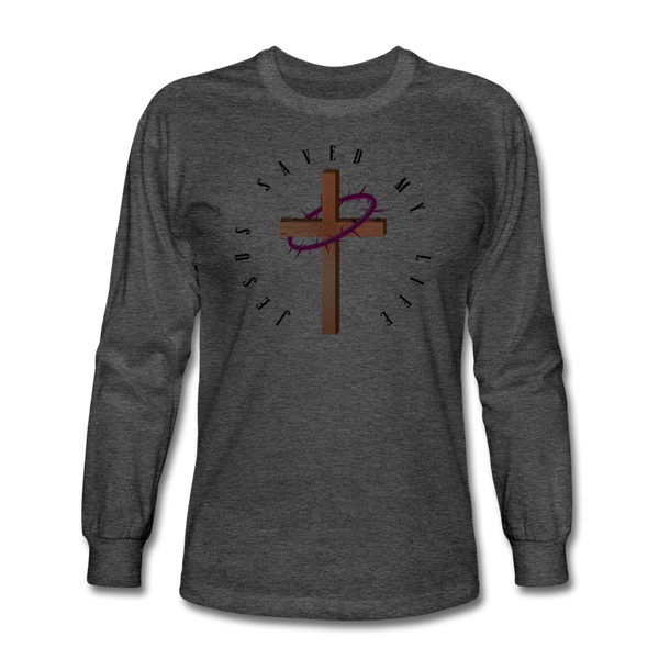 Jesus Saved My Life Long Sleeve T-Shirt - heather black