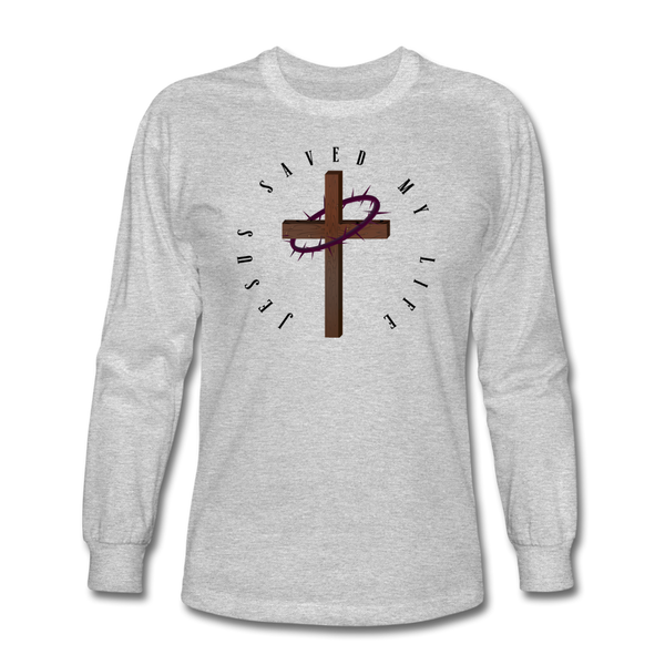 Jesus Saved My Life Long Sleeve T-Shirt - heather gray