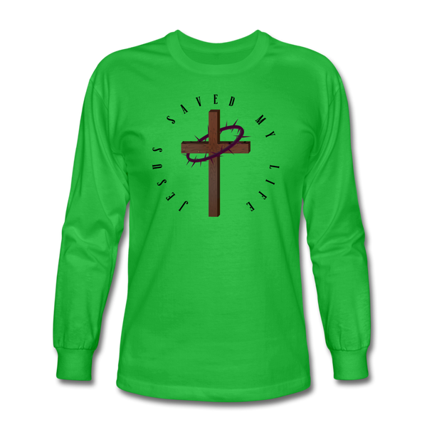 Jesus Saved My Life Long Sleeve T-Shirt - bright green