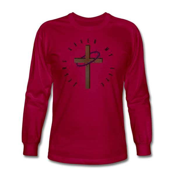 Jesus Saved My Life Long Sleeve T-Shirt - dark red