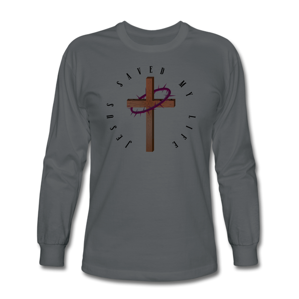 Jesus Saved My Life Long Sleeve T-Shirt - charcoal
