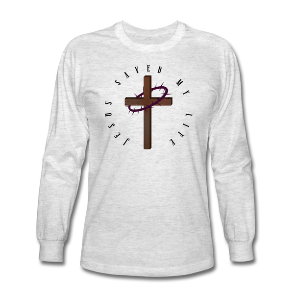 Jesus Saved My Life Long Sleeve T-Shirt - light heather gray