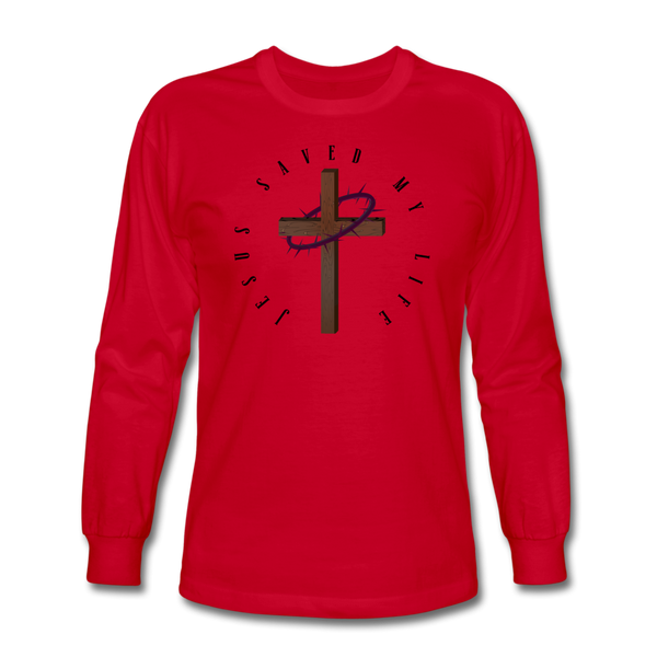 Jesus Saved My Life Long Sleeve T-Shirt - red