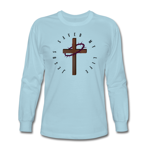 Jesus Saved My Life Long Sleeve T-Shirt - powder blue