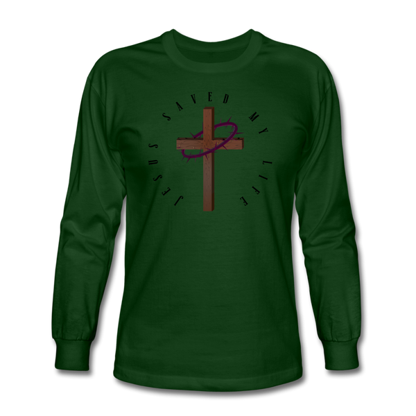 Jesus Saved My Life Long Sleeve T-Shirt - forest green