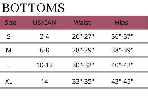 Bottoms Size Guide/Chart