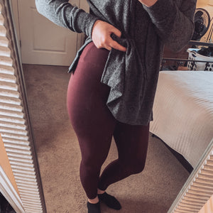 Hold Me Close Burgundy Leggings