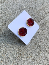 Load image into Gallery viewer, Holiday Ruby Red Druzy Studs