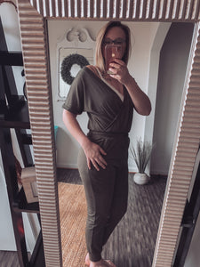 Army Green V Neck Wrap Front Jumpsuit