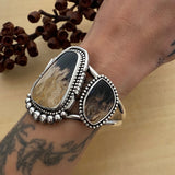 Huge Petrified Palm Root 3 Stone Cuff- Sterling Silver and Palm Root Bracelet- Size S/M