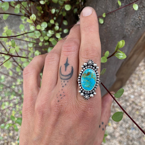 Stamped Celestial Turquoise Ring- Size 6- Sterling Silver and Royston Turquoise
