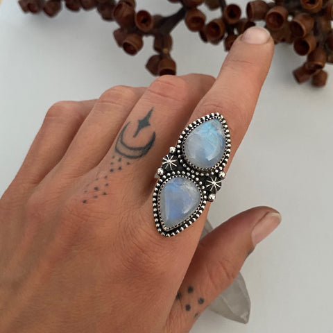 Celestial Double Moonstone Ring- Size 6.5- Sterling Silver and Rainbow Moonstone