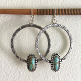 Stamped Turquoise Hoop Earrings- Sterling Silver and #8 Turquoise