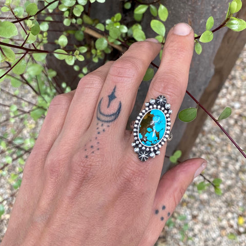 Stamped Celestial Turquoise Ring- Size 8- Sterling Silver and Sierra Nevada Turquoise