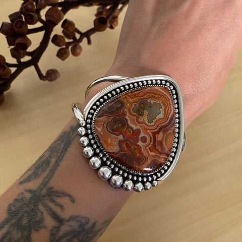 Huge Crazy Lace Agate Cuff- Sterling Silver and Crazy Lace Agate Bracelet- Size M/L