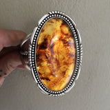 Huge Amber Cuff Bracelet- Sterling Silver and Mayan Amber