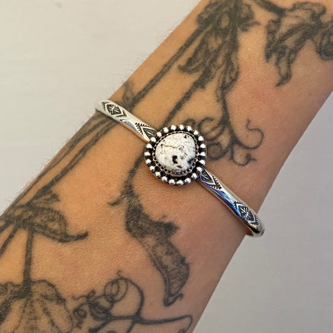 Stamped Stacker Cuff- Sterling Silver and White Buffalo Bracelet- Size M/L