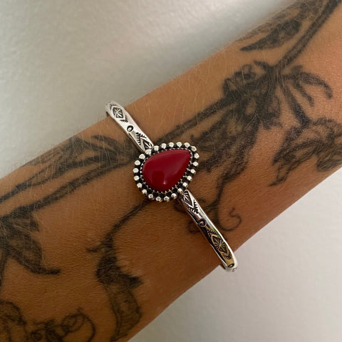 Stamped Rosarita Stacker Cuff- Sterling Silver and Red Rosarita Bracelet- Size M/L