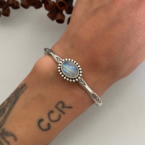 Stamped Stacker Cuff- Sterling Silver and Rainbow Moonstone Bracelet- Size M/L