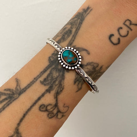 Stamped Turquoise Stacker Cuff- Sterling Silver and Sierra Nevada Turquoise Bracelet- Size S/M