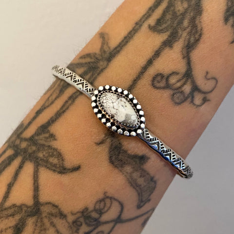 Stamped Stacker Cuff- Sterling Silver and White Buffalo Bracelet- Size L/XL