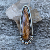 Large Laguna Agate Talon Ring or Pendant- Sterling Silver and Lace Agate- Finished to Size