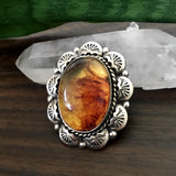 Ornate Amber Overlay Ring- Sterling Silver and Mayan Amber - Finished to Size