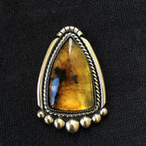 Large Amber Ring- Sterling Silver and Mayan Amber- Finished to Size