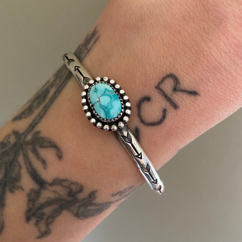 Stamped Turquoise Stacker Cuff- Royston Turquoise and Sterling Silver Bracelet- Size S/M