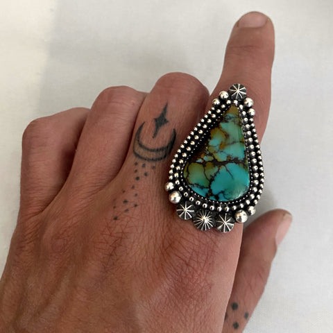 Large Celestial Turquoise Ring- Sterling Silver and Bao Canyon Turquoise Statement Ring- Finished to Size or as Pendant