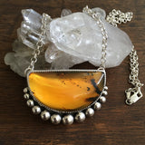 "Large Amber Bubble Necklace- Sterling Silver and Mayan Amber - 20"" Sterling Chain"