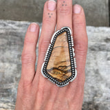 Huge Biggs Jasper Ring or Pendant- Sterling Silver and Biggs Picture Jasper- Finished to Size
