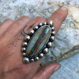Royston Ribbon Bubble Ring- Sterling Silver and Royston Turquoise Statement Ring- Finished to Size or as Pendant