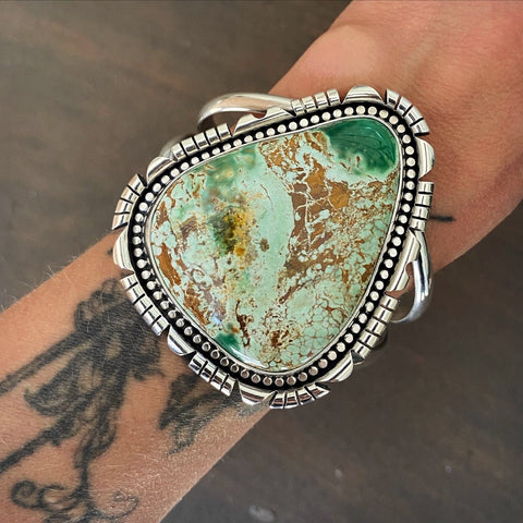 Huge Variscite Statement Cuff- Sterling Silver and Australian Variscite- Size S/M
